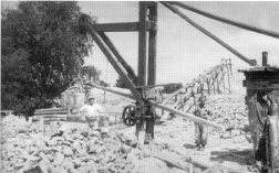 Head of shaft mine showing a 'crab' crane