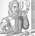 Woodcut of Elizabethan smoking a clay tobacco pipe.